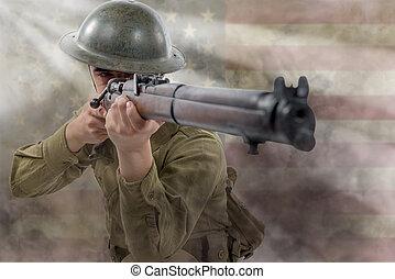 American World War 1 soldier. 1917-18.