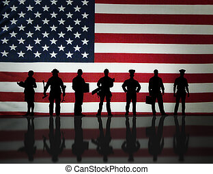 American wrokers - American worker silhouette's in front of...
