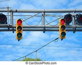 American yellow traffic and train r