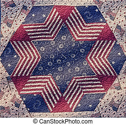 This is an abstract Americana design with American flags, in a theme of red, white and blue, great for 4th of July or other design needs.