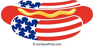 A stylized hot dog shape representing the American flag.