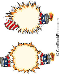Vector art in Illustrator 8. Red, white and blue firecrackers explode for Independence Day with copy space for your text.