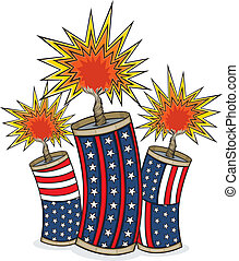 Vector art in Illustrator 8. Three Red, white and blue firecrackers explode for Independence Day. Firecrackers are SEPARATE images and can be rearranged and used individually if desired. Color and outline on separate layers.
