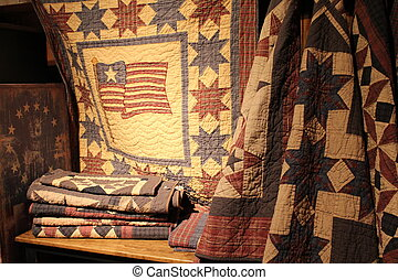 Americana quilts in soft lighting - Americana themed quilts...