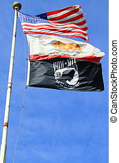 American,California And Pow Flags - American California and...