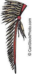 americano índio, chefe, headdress