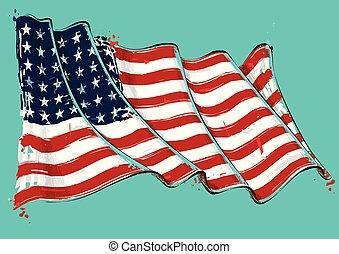 americano, 48, estrela, artisticos, acidente vascular cerebral escova, bandeira acenando