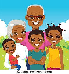 americano africano, abuelos, con, nietos