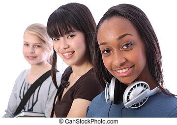americano africano, adolescente, estudante, menina, e, amigos
