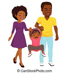 americano, africano, andar, família, feliz