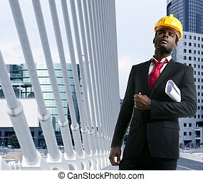 americano africano, arquiteta, engenheiro, amarela, hardhat