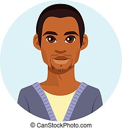 americano, africano, avatar, homem