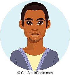 americano, africano, avatar, uomo