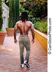 americano, africano, camminare, muscolare, uomo