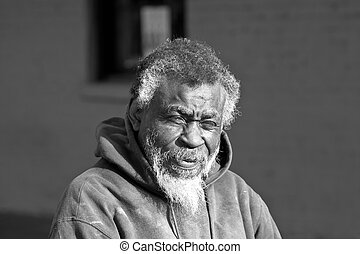 americano, africano, desabrigado, homem