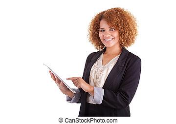 americano africano, donna affari, usando, uno, tattile,...