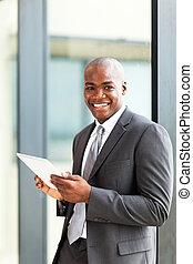 americano africano, empresário, tabuleta, computador