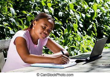 americano africano, estudante, estudar