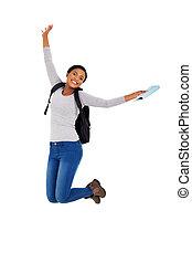 americano africano, estudante universitário, pular
