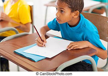 americano africano, estudiante, estudiar, chino, en, aula