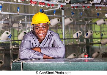 americano africano, fabbrica tessile, lavoratore