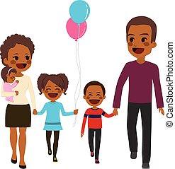 americano africano, família feliz, andar