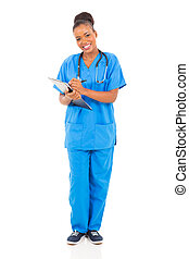 americano, africano, femmina, dottore