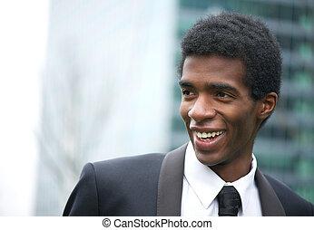 americano africano, fuori, attraente, uomo affari, ritratto, sorridente