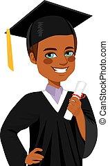 americano africano, graduación, niño