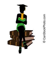 americano africano, graduado, ilustración, silueta