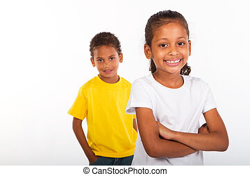 americano africano, hermano y hermana