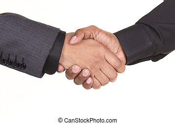 americano africano, hombres de negocios, sacudarir las manos