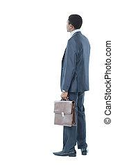 americano africano, homem negócio, costas, olhar, algo,...