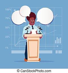 americano africano, homem negócios, orador, candidato, público, fala, reunião conferência, seminário negócio
