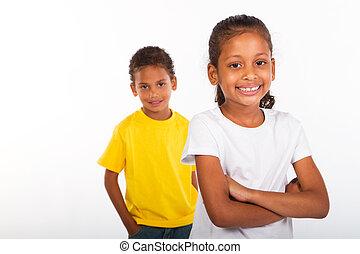 americano africano, irmão irmã