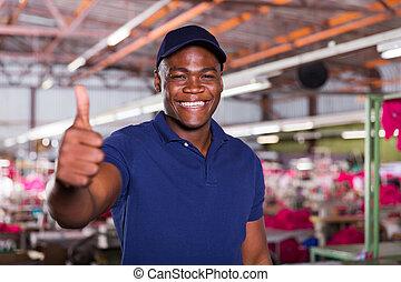 americano africano, lavoratore tessile, dare, pollice