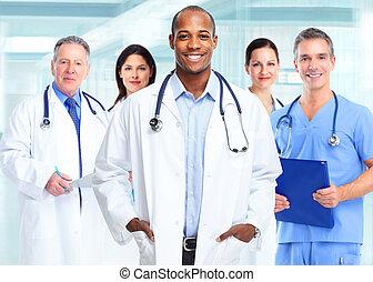 americano, africano, médico, man., doutor