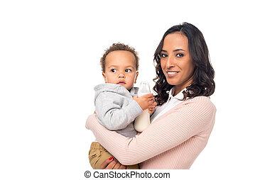 americano africano, madre e hijo