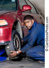 americano africano, mecánico, servivc