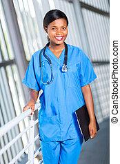 americano, africano, medico, femmina, dottore