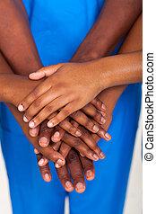 americano africano, medico, lavoro squadra