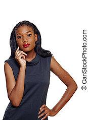 americano africano, mujer de negocios