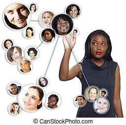 americano africano, mujer de negocios, social, red
