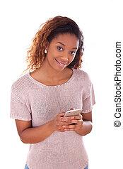 americano africano, mulher jovem, emitindo uma mensagem texto, ligado, dela, esperto