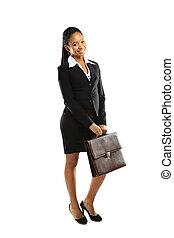 americano africano, mulher negócio, segurando, um, bolsa