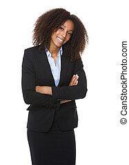 americano africano, mulher negócio, sorrindo