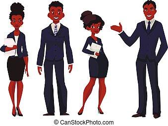 americano, africano, mulheres negócios, homens negócios