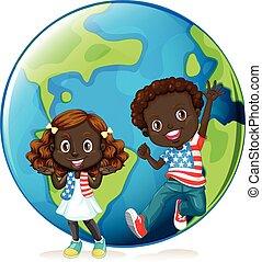 americano africano, niños, en, tierra
