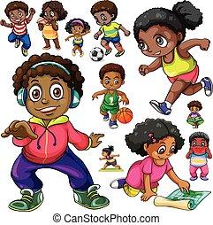 americano africano, niños, hacer, diferente, cosas