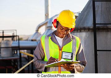 americano africano, olio, chimico, lavoratore industria